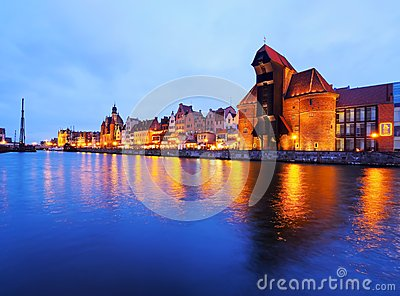 Old Port Crane in Gdansk, Poland Editorial Stock Image