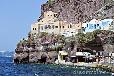 Old port of Fira at Santorini island