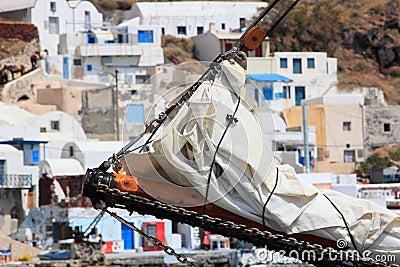 Old port of Fira Santorini island Greece