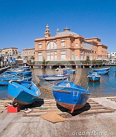 Old port with Margherita Theatre. Bari. Apulia.