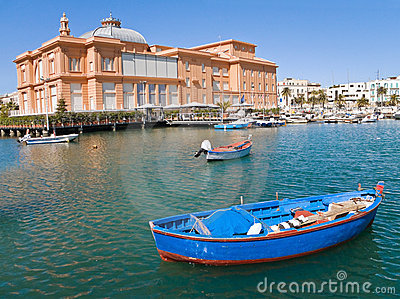 Old port with Margherita Theatre. Bari. Apulia.