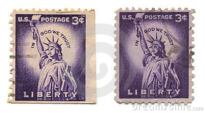 Old Postage Stamps From Usa Liberty Stock Photography Image 6507962