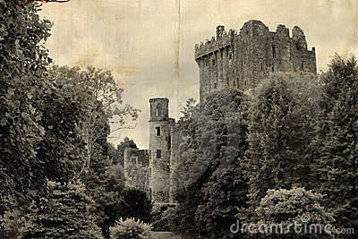Old postcard from Blarney castle, Ireland