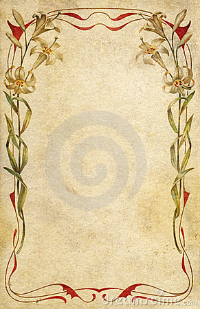 Old postcard decorated with art nouveau floral fra