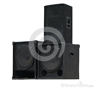 Old powerful stage concerto audio speakers isolated