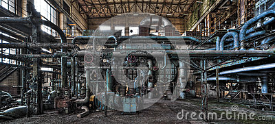 Deserted power plant interior