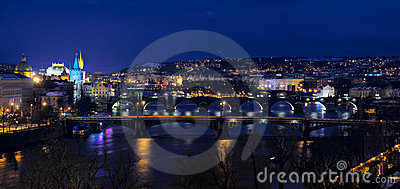 Old Prague; Bridges over Vltava river at dusk
