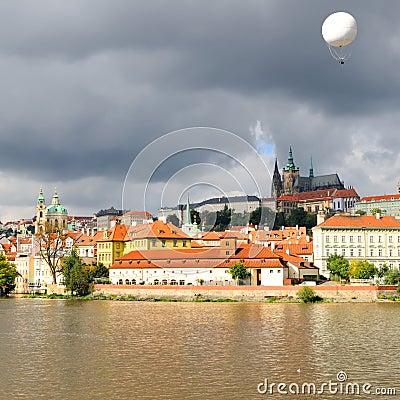 Old Prague, Vltava river under bright Autumn sun
