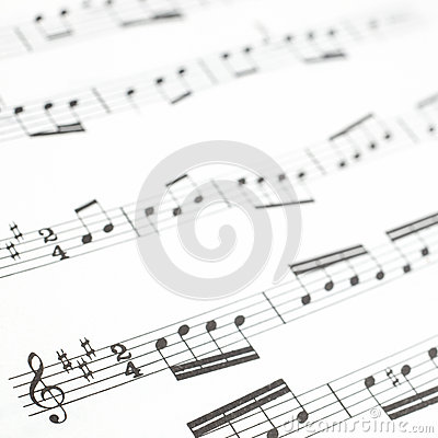 Free Old Printed Music Sheet Or Score And Musical Notes Stock Photography - 28050312