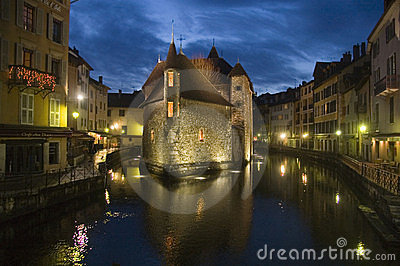 Old prison of Annecy at night Editorial Photo