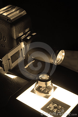 Old Projector & Slides in sepia