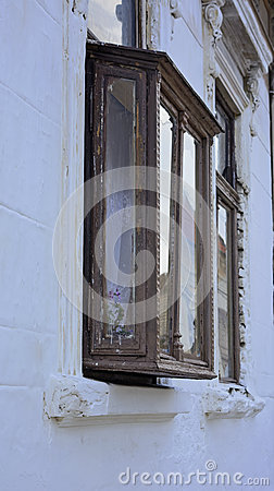 Old protruding window stock photo image 60680686 - The house with protruding windows ...