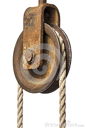 Free Old Pulley With Rope Royalty Free Stock Images - 26159879