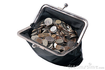 The old  purse with coins