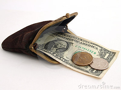 Old purse with two dollars, on a white background