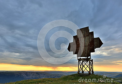 Old radio antenna in mountains