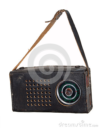 Old radio in a leather case