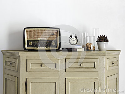 Old radio on the sideboard in the living room