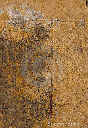 Old ragged Painted orange wall