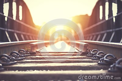The old rail way with sunset light. Stock Photo