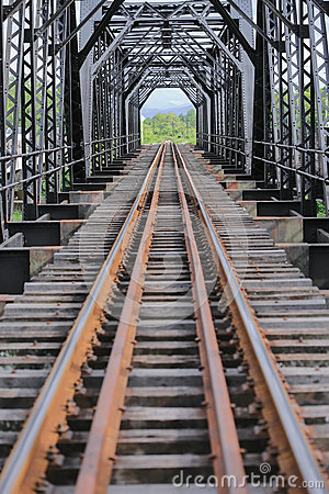 Free Old Rail Way Bridge, Rail Way Construction In The Country, Journey Way For Travel By Train To Any Where. Royalty Free Stock Photography - 58519197