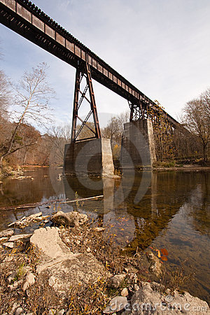 Free Old Railroad Bridge Over A Creek Vertical Royalty Free Stock Image - 16875366