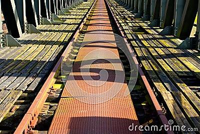 Old railroad on the  bridge