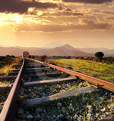 Free Old Railway At The Sunset Royalty Free Stock Photos - 5422658