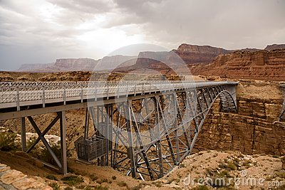 Old railway bridge over marble canyon