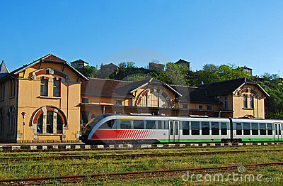 Old railway station, modern train
