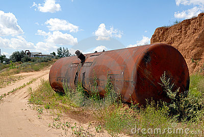Old railway tank for transportation mineral oil