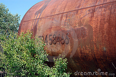 Old railway tank for transportation of mineral oil