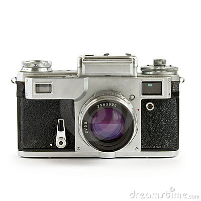 Old rangefinder camera isolated