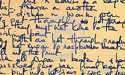 Old recipe handwriting detail