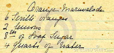 Old recipe handwriting detail