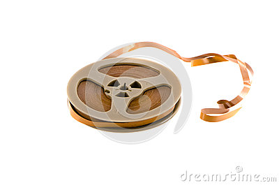 Old recorder audio tape isolated on white