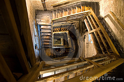 Old rectangular spiral stairways
