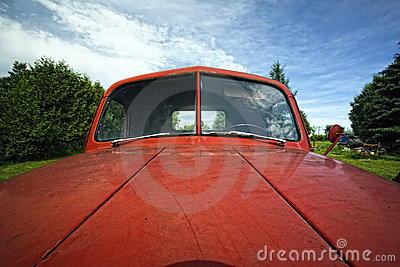 Old Red  Antique Junker Car
