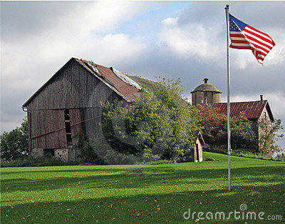 Old Red Barn with Flag