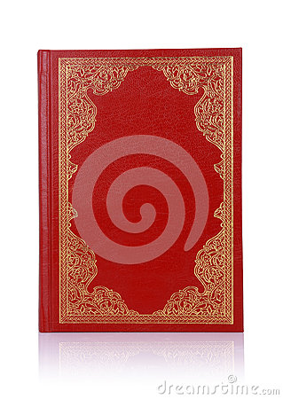 Old red book with gold color ornament on cover