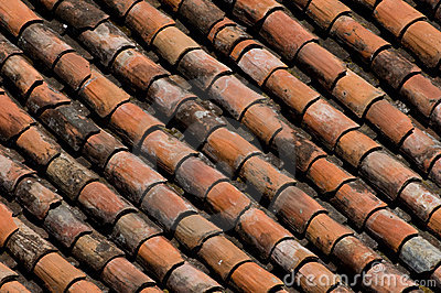 Old red clay roof tiles