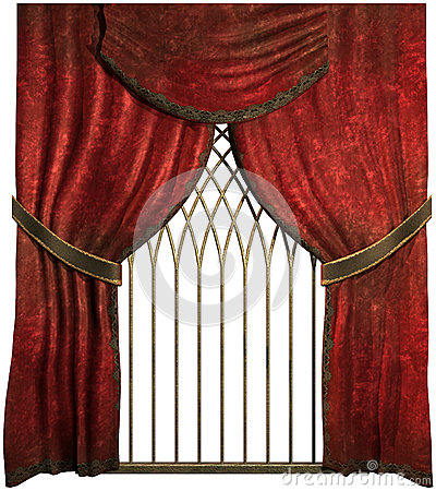 Old red curtains