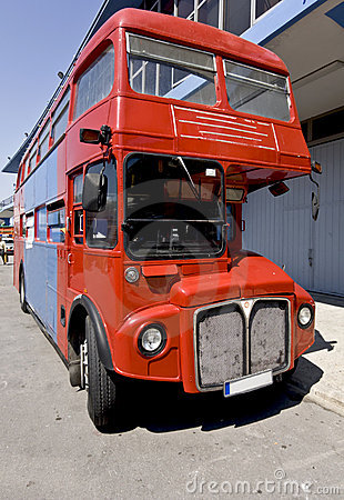 Old red double decker public bus