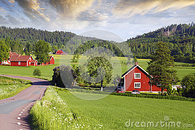 Old red farms in a green landscape