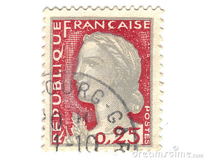 Old red french stamp