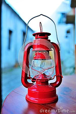 Old red kerosene lantern