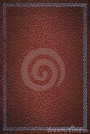 Old red leather texture with silver frame