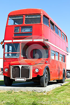 Old Red London Double Decker Bus