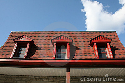 Old red mansard roof