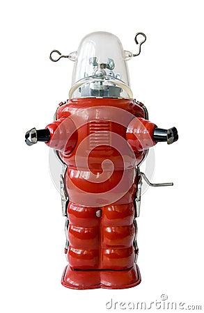 Old red metal robot